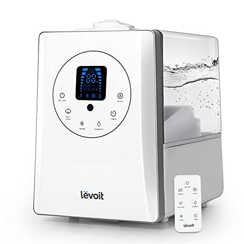 LEVOIT Humidificador Ultrasónico 6L de Vapor Caliente y Frío a Bebes, Humidificador Aromaterapia a 36H y 70 m², Silencioso Auto Modo