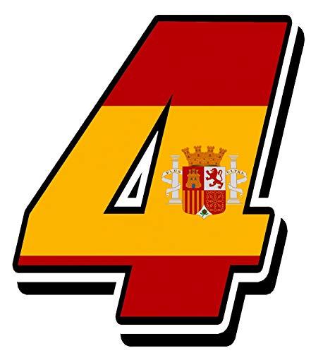 Biomar Labs® Número 4 Bandera Nacional España Spain Calavera Vinilo Adhesivo Pegatina Coche Auto Motocross Moto Sport Start Racing Tuning N 284