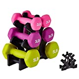 IMFUN Dumbbell Rack, Compact Dumbbell Bracket Free Weight Durable Barbell Rack Hand Weight Stand for Home Fitness Gym Black