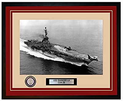 """Photo is printed on premium matte cloth canvas with archival ink that is rated at greater than 150 years without fading Engraved plaque stating the ship's name and designation Enclosed in a high quality 20"""" X 16"""" black frame Choice of matting color o..."""
