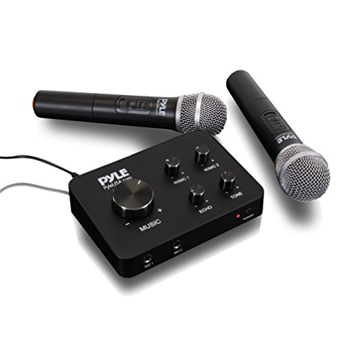 Pyle Portable Home Theater Karaoke Microphone Mixer System Set w/ Dual UHF Wireless Mic, HDMI & AUX, Audio Play via Device Speaker & Works with TV, Receiver, Amplifier, Speaker & More - PDWMKHRD22WM