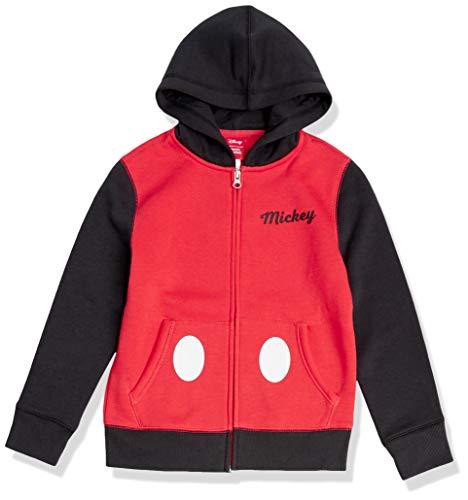 Amazon Essentials Disney Star Wars Marvel Fleece Zip-Up Sweatshirt Hoodies Felpa, Rosso/Nero, Topolino/Color Block, 8 Anni