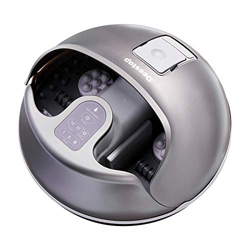 Deestop Steam Foot Spa Bath Massager Foot Sauna with 3 Heat Levels, Electric Massage Rollers, Pebble Pedal Detachable and Timer Function, No Water Pouring Foot Spa
