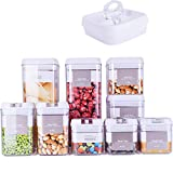 DRAGONN 9 Piece Airtight Food Storage Container Set with Labels, Pantry Organization and Storage, Keeps Food Fresh, Big Sizes Included, Durable, BPA Free Containers