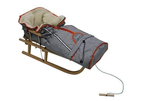 Holzschlitten für Kinder mit Rückenlehne Rodelschlitten Davoser Schlitten aus Holz mit einem Sicherheitsgurt, Rückenlehne und Winterfußsack (Natur/Garu)
