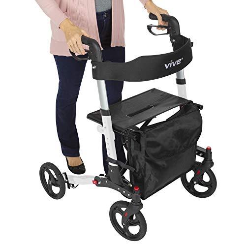 Vive Folding Rollator Walker - 4 Wheel Medical Rolling Walker with Seat & Bag - Mobility Aid for Adult, Senior, Elderly & Handicap - Aluminum Transport Chair (White)