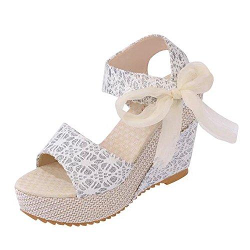 Minetom Sandalias con Cuña Mujer Verano Dulce Encaje Arco Peep Toe Zapatos Chancletas Zapatillas Playa Boda Blanco EU 39