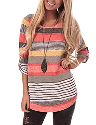 Short Sleeve Round Neck triple color block striped t shirt casual blouse Faddish Look - This fashionable casual loose t-shirt, trendy and elegant item gives you a beautiful Chic Look. Works Great with for a casual everyday look, you can wear in any o...