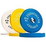 BalanceFrom Everyday Essentials Color Coded Olympic Bumper Plate Weight Plate with Steel Hub, 160 lbs Set