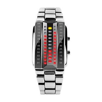 SKMEI Unusual Design Watches for Men Outdoor LED Comfortable Waterproof Digital Wrist Watch (Silver,7.8 inch)