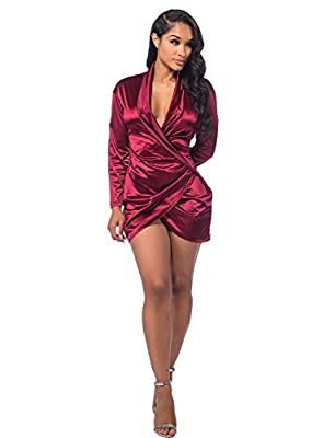 Made of quality Satin, soft, light and comfortable. Size: there are 4 sizes for your choose: Small,Medium,Large,X-Large please refer to the chearly size datas on below description page before ordering. Long sleeves,Mini length style, suit for casual,...