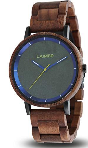 LAiMER Holzuhr Laurenz - Herren Quarz - Armbanduhr aus Walnussholz, Ziffernblatt aus Granit
