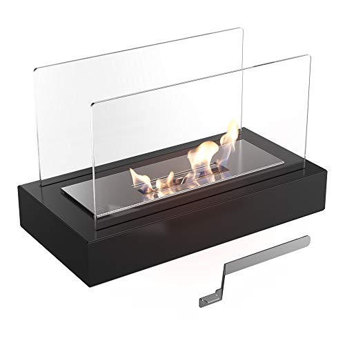 KRATKI Galina Ethanol Fireplace, Free-Standing Real fire Fireplace with TÜV Certificate |Fire line 13 cm, Dimensions in cm: H21.80 x W35.40 x D18