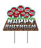 Mining Craft Pixel Gamer Gaming Birthday Cake Topper Video Game Mine Party