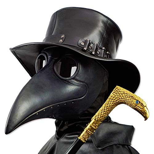 PartyHop Plague Doctor Mask, Black Bird Beak Steampunk Gas Costume, for Kid and Adult (Unknown Binding)