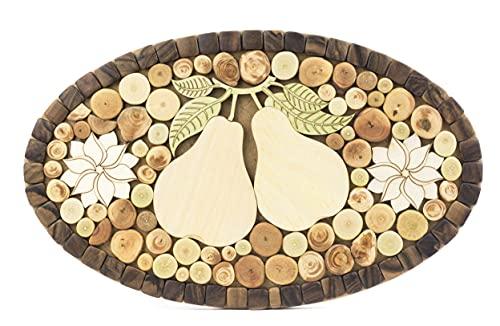 Viki Sottopentola in pregiato Legno di Ginepro per pentole, Piatti, padelle Calde - soprammobile Ovale Design Fatto a Mano - 4 Tipi di Legno profumato
