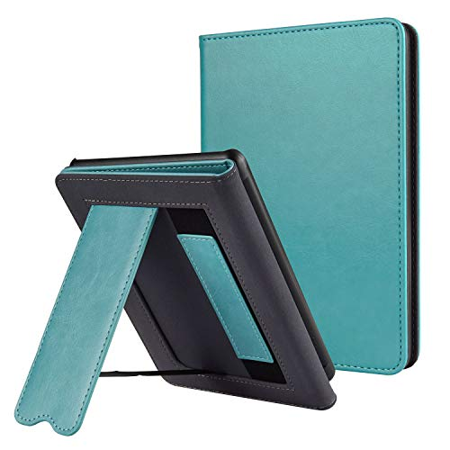 CoBak Kindle Paperwhite Case with Stand - Durable PU Leather Smart Cover with Auto Sleep Wake, Hand Strap Feature, ONLY Fits All New Kindle Paperwhite 10th Generation 2018 ReleasedSky Blue