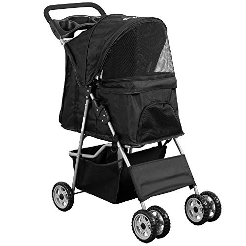 VIVO Black 4 Wheel Pet Stroller for Cat, Dog and...