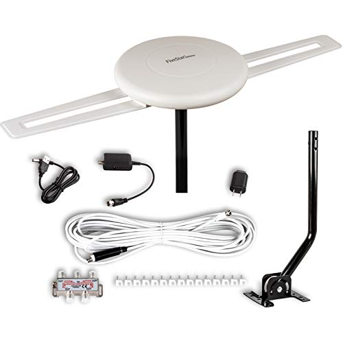 Five Star [Newest 2020] HDTV Antenna - 360 Omnidirectional Amplified Outdoor TV Antenna up to 150 Miles Indoor/Outdoor,RV,Attic 4K 1080P UHF VHF Supports 4TVs Installation Kit & Mounting Pole