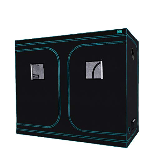 OPULENT SYSTEMS 96'x48'x80' Hydroponic Mylar Water-Resister Grow Tent Reflective Garden Growing Dark Room with Observation Window, Removable Floor Tray and Tool Bag for Indoor Plant Growing 4'X8'
