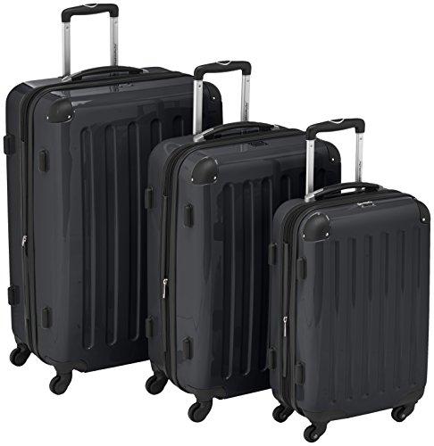 HAUPTSTADTKOFFER - Alex - Set di 3 valigie (S, M & L), 235 litri, Colore Nero