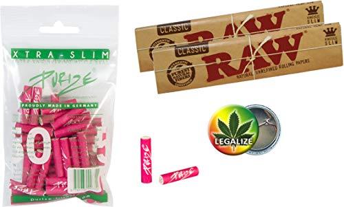 Purize 6mm Xtra Slim Aktivkohlefilter 50 Stück pink + 2X RAW KS Slim Papers ungebleicht + Rasta-Button