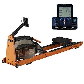 MOBI FITNESS Rameur Rameur en Bois avec écran LCD Utilisateurs jusqu'à 198 cm / 120 kg Équipement de Fitness rameur pour la Maison