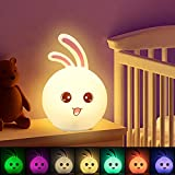 CNSUNWAY LIGHTING LED Veilleuse Enfant, 7 couleurs LED Lampe en Silicone, Veilleuse Pour Bébé Pour Chambre, USB rechargeable Veilleuse Portable Enfant
