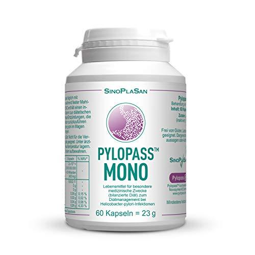 Pylopass MONO 200mg, 60 Kapseln, zum Diätmanagement bei Helicobacter Pylori Infektionen, hochdosiert, vegan, laktosefrei, glutenfrei, qualitätsüberwacht
