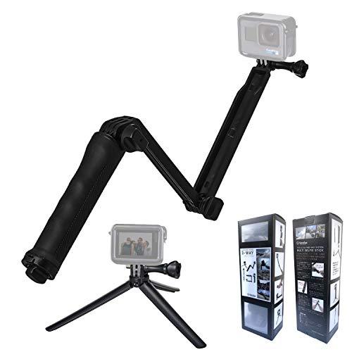 【Ventlax】 GoPro 対応 3Way 自撮り棒 軽量 ラバーグリップ アングル調整可能