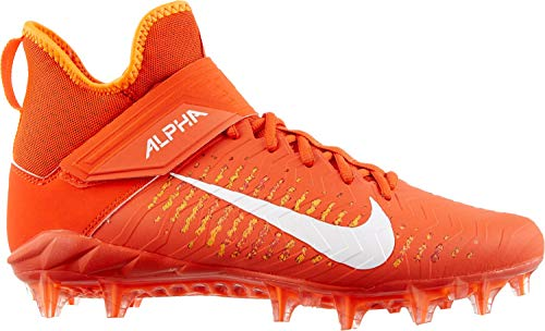 Nike Men's Alpha Menace Pro 2 Mid Football Cleats (10.5, Team Orange/White/Total Orange)