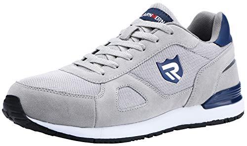 LARNMERN Sicherheitsschuhe Herren Damen, SRC rutschfeste Schuhe Arbeitsschuhe mit Stahlkappe Sportlich Schutzschuhe (42 EU Grau)
