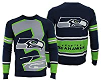 100% Acrylic Sublimated graphics Perfect for ugly Sweater parties Ribbed cuff and waist Officially licensed by the NFL
