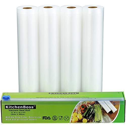 KitchenBoss Sottovuoto Sacchetti Alimenti,4 pezzi da 28x500 cm Sacchetti per Sottovuoto con Scatola Fresa(Non più forbici) per la Conservazione Sottovuoto Alimenti