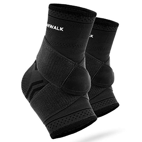 VANWALK Ankle Brace (Pair), Adjustable Ankle Support Compression Socks for Achilles Tendon Support and Plantar Fasciitis, Relieve Ankle Swelling Joint Pain (Black,X L)