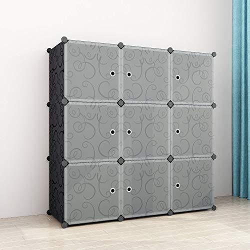 SIMPDIY Semplice Armadio Salva Spazio in Plastica,Molto Ampio e Spazioso 9 Cubi 108x36x108cm...