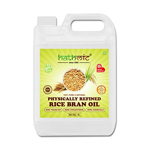 Hathmic 100% Pure Physically Refined Rice Bran Oil , 5L