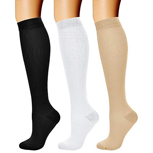 CHARMKING Compression Socks (3 Pairs) 15-20 mmHg is Best Athletic & Medical for Men & Women, Running, Flight, Travel, Nurses, Edema - Boost Performance, Blood Circulation & Recovery (L/XL,Assorted 02)