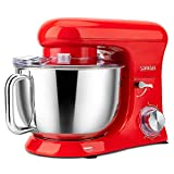 SanLidA Stand Mixer, Metal Shell Series 6.5Qt. 10-Speed Kitchen Electric Mixer with Dishwasher-Safe Dough Hooks, Flat Beaters, Whisk & Pouring Shield Attachments for Most Home Cooks, SM-1515, Watermelon Red