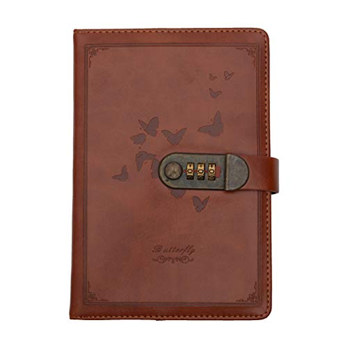 Store2508® Novelty Diary Notebook with Number Combination Lock & PU Leather Cover (22x15 cm, 230 Pages) (Brown)