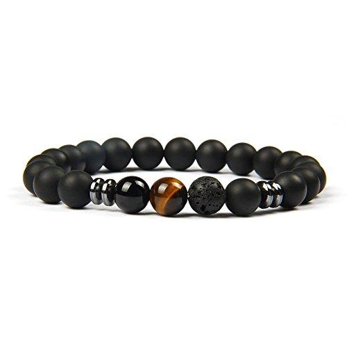 Good.Designs ® Chakra Perlenarmband aus Onyx und Lavastein Natursteinperlen (Tigerauge) Herrenarmband Damenarmband Perlenkette Schmuckstein Männerarmband Frauenarmband