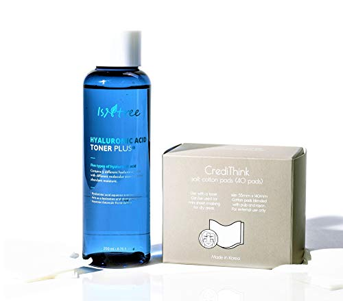 ISNTREE Hyaluronic Acid Essence Hydrating Toner Plus 6.76 Fl Oz & Cotton Pads for Face with Dry Sensitive Skin | Reduce Acne, Redness, Wrinkles | Improve Hydration, Smooth Feelings | Deep Moisturizing