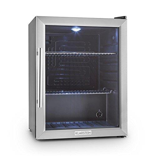 Klarstein Beersafe - Frigorifero, Mini Frigo, con Porta in Vetro, Illuminazione LED, 5 Livelli, Solo 42 dB, Acciaio...