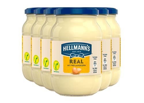 Hellmann's Mayonnaise Real (mit Eiern aus 100% Freilandhaltung + wertvoller Öle aus verantwortungsvoller Herstellung) 6er Pack (6 x 210g)