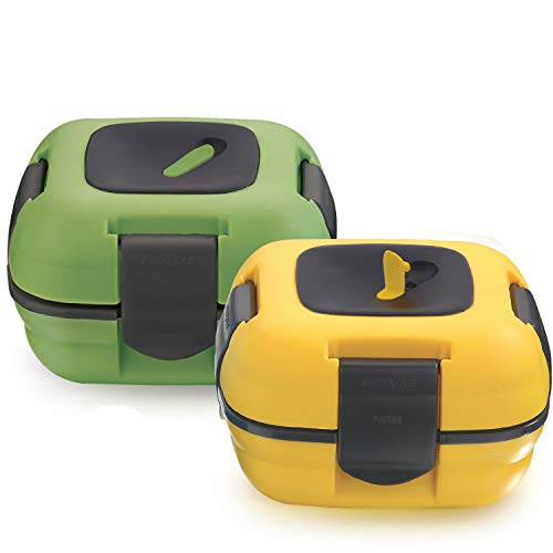Lunch Box ~ Pinnacle Insulated Leak Proof Lunch Box for Adults and Kids - Thermal Lunch Container With NEW Heat Release Valve 16 oz ~Set of 2~ Green-Yellow
