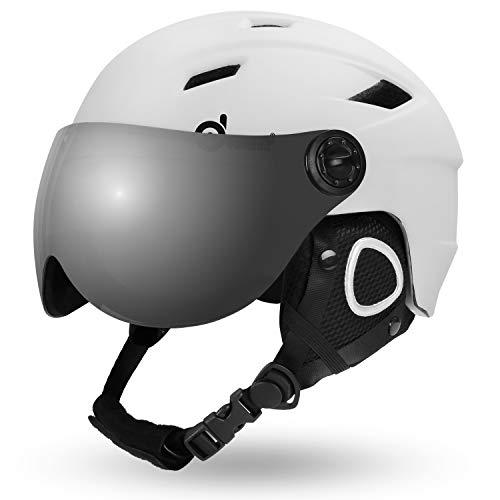 Odoland Erwachsene Skihelm Skihelm mit Visier, Leichter Race-Helm mit Helmvisier für Männer und Frauen, Snowboardhelm ASTM-Sicherheitszertifikat Weiß XL-60-62cm