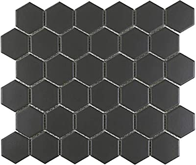 Beautiful porcelain mosaic in popular hexagon shape 10 sheets included in the carton/1 sheet = 1 SQFT Mesh-mounted for ease of installation as well as trimming for accent areas Suitable for floor and wall installations, as well as wet areas such as s...