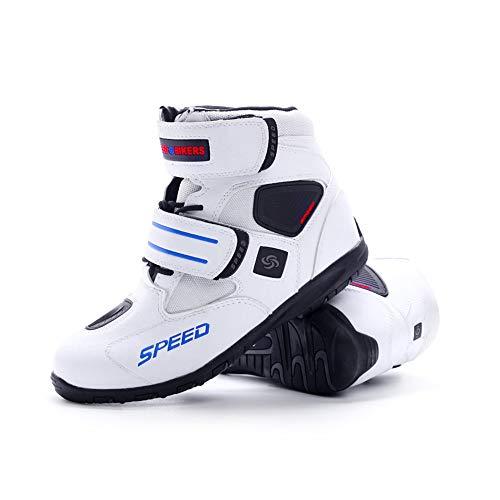 バイク用靴 プロテクション有り 強化防衛性 高い防水機能 高速換気 耐衝撃性 透湿性透湿性 抗菌防臭 ショートブーツ ライディングシューズ レーシングブーツ オートバイ靴 男女兼用 (白, 44(27.0cm))