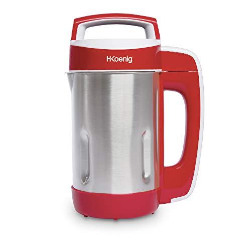 H.Koenig Soup Maker Chauffant MXC18, 1.1L 850W Inox, Blender Multifonctions Chauffant professionnel, Fonction mixage, 2 Programmes de cuisson Soupe/Compote et cuisson à l'eau, smoothies, milkshake