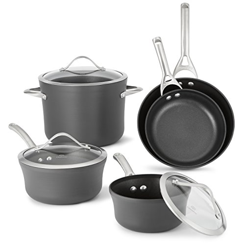 Calphalon 1876784 Contemporary Hard-Anodized Aluminum Nonstick Cookware, Set, 8-Piece, Black